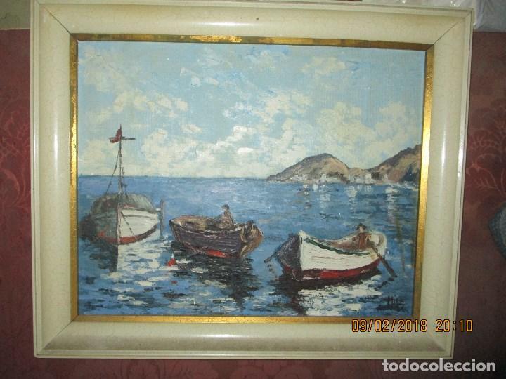 ANTIGUA PINTURA O OLEO IMPRESIONISTA MARINA FIRMA ILEGIBLE (Arte - Pintura - Pintura al Óleo Contemporánea )