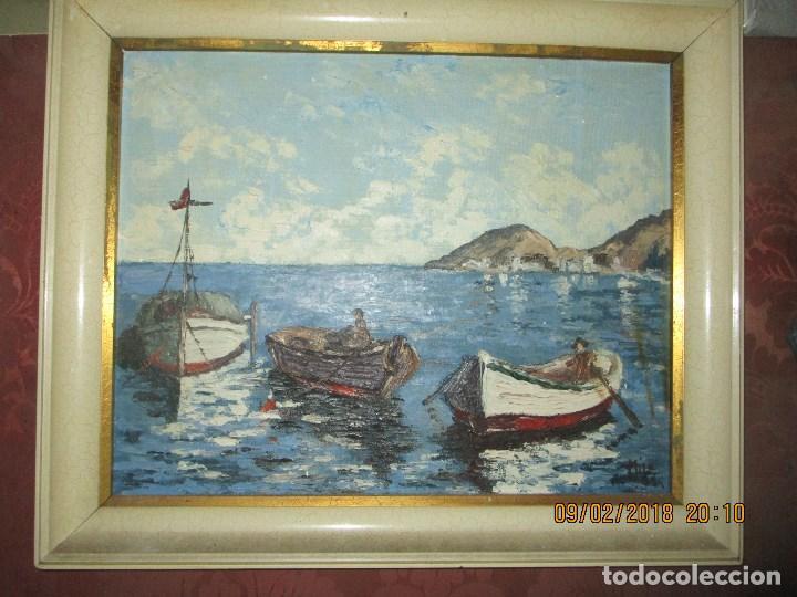 Arte: antigua pintura o OLEO IMPRESIONISTA MARINA FIRMA ILEGIBLE - Foto 2 - 219722135