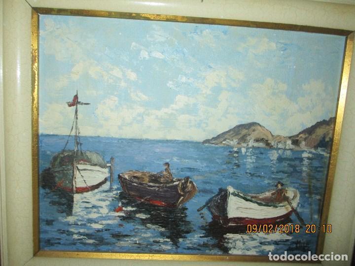 Arte: antigua pintura o OLEO IMPRESIONISTA MARINA FIRMA ILEGIBLE - Foto 3 - 219722135