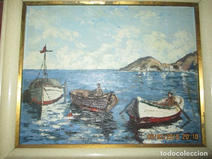 Arte: antigua pintura o OLEO IMPRESIONISTA MARINA FIRMA ILEGIBLE - Foto 4 - 219722135
