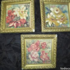 Arte: LOTE TRES ANTIGUO CUADRITOS FLORES OLEO SOBRE TABLA FIRMADO F. G SOLVES JOLVES? PRECIOSOS VINTAGE. Lote 219748377