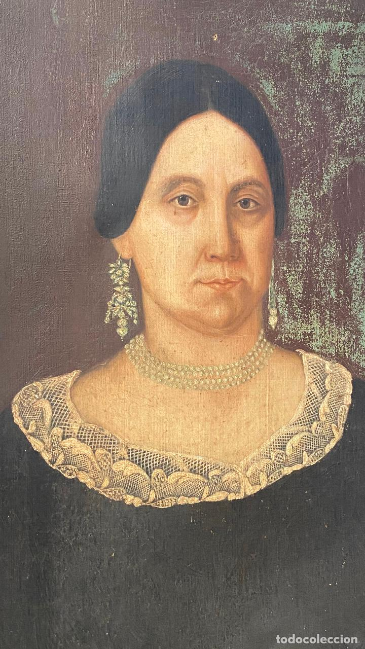 Arte: Gran retrato de una señora año 1849 firmado M. Borja - Foto 2 - 219761130