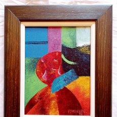 "Arte: OLEO ABSTRACTO ""BALL"" (OLEO). AUTOR GONZALEZ QUIRON. COSTA RICA 1996.. Lote 219862261"