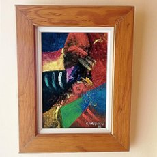 "Arte: OLEO ABSTRACTO ""SCARF"" (OLEO). AUTOR GONZALEZ QUIRON. COSTA RICA 1996.. Lote 219862995"