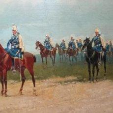 Arte: HUSARES DE LA PRINCESA - PINTURA MILITAR S.XIX SOBRE TABLA DE MADERA - ENRIQUE GÓMEZ MARTÍN. Lote 220292115