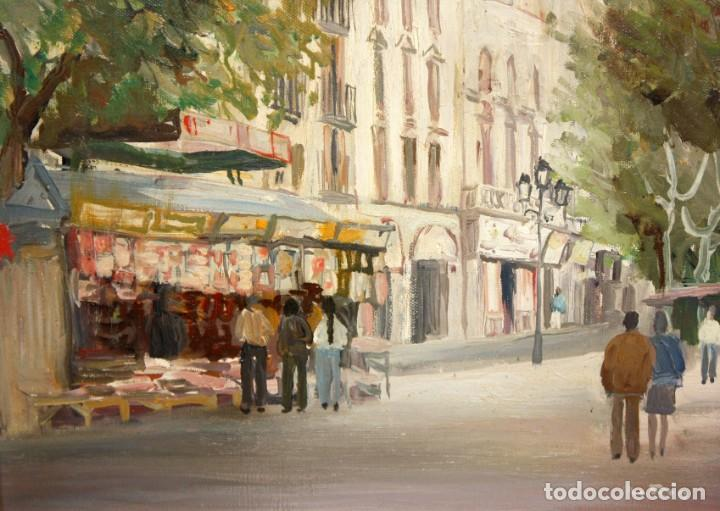 AGUSTIN RIO NAVARRO (BARCELONA, 1923-1997) OLEO SOBRE TELA. RAMBLA DE LES FLORS (BARCELONA) (Arte - Pintura - Pintura al Óleo Contemporánea )