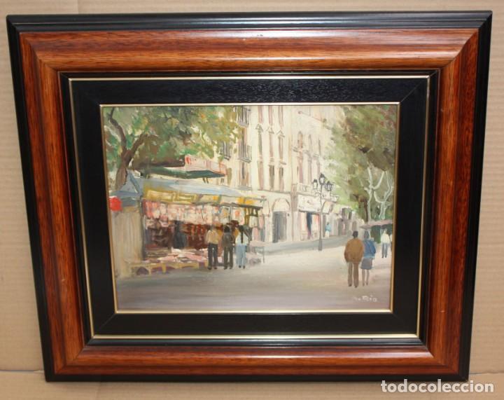 Arte: AGUSTIN RIO NAVARRO (Barcelona, 1923-1997) OLEO SOBRE TELA. RAMBLA DE LES FLORS (Barcelona) - Foto 2 - 220402127