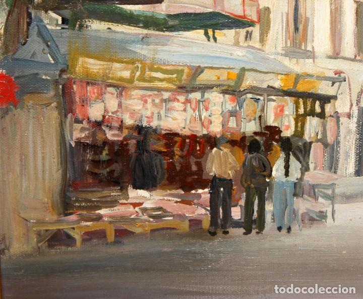 Arte: AGUSTIN RIO NAVARRO (Barcelona, 1923-1997) OLEO SOBRE TELA. RAMBLA DE LES FLORS (Barcelona) - Foto 4 - 220402127