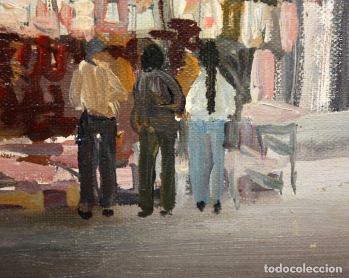 Arte: AGUSTIN RIO NAVARRO (Barcelona, 1923-1997) OLEO SOBRE TELA. RAMBLA DE LES FLORS (Barcelona) - Foto 5 - 220402127