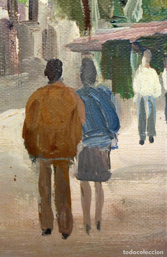 Arte: AGUSTIN RIO NAVARRO (Barcelona, 1923-1997) OLEO SOBRE TELA. RAMBLA DE LES FLORS (Barcelona) - Foto 6 - 220402127