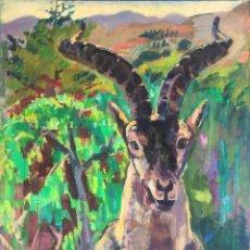 Arte: IGNASI MUNDÓ MARCET (1918-2012) - CABRA HISPÁNICA - ÓLEO SOBRE LIENZO. Lote 220423715