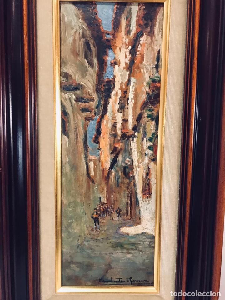 Arte: Constantino Gómez i Salvador.Óleo sobre tabla 40x14cm sin marco .1865-1937 Valencia - Foto 2 - 220595746