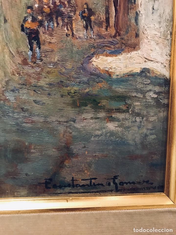 Arte: Constantino Gómez i Salvador.Óleo sobre tabla 40x14cm sin marco .1865-1937 Valencia - Foto 3 - 220595746