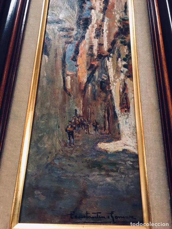 Arte: Constantino Gómez i Salvador.Óleo sobre tabla 40x14cm sin marco .1865-1937 Valencia - Foto 4 - 220595746
