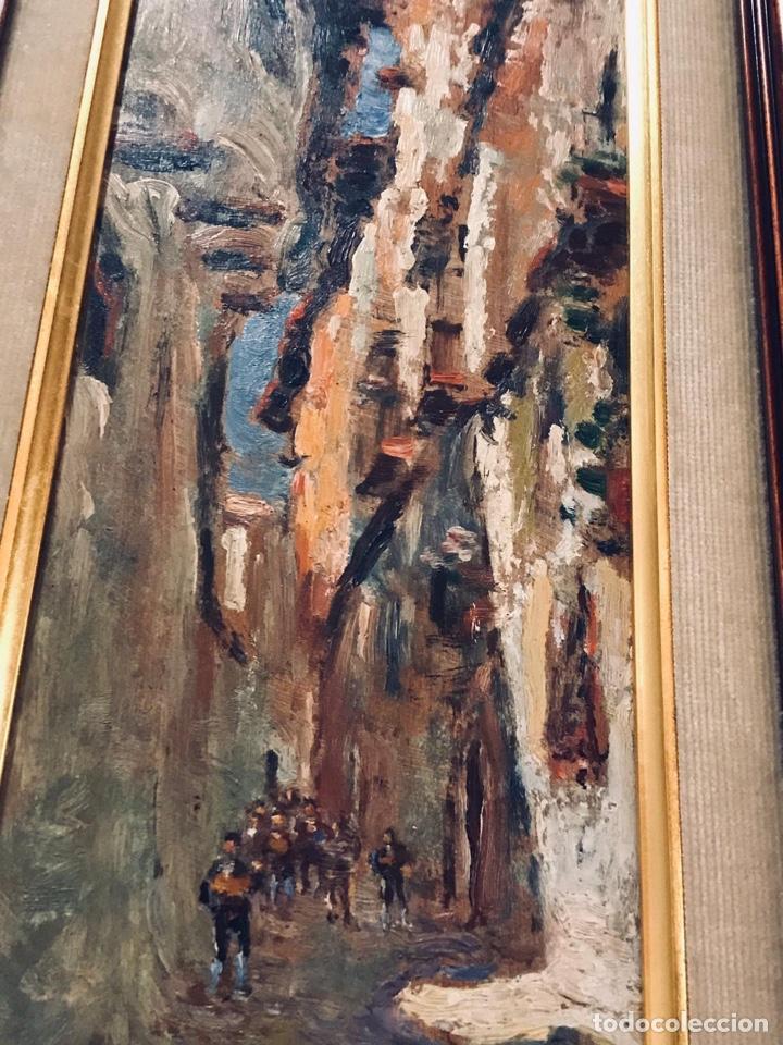 Arte: Constantino Gómez i Salvador.Óleo sobre tabla 40x14cm sin marco .1865-1937 Valencia - Foto 6 - 220595746