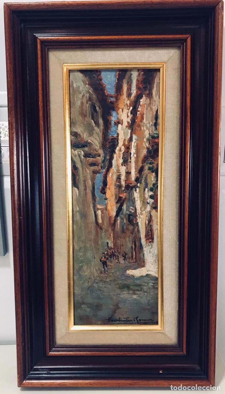 CONSTANTINO GÓMEZ I SALVADOR.ÓLEO SOBRE TABLA 40X14CM SIN MARCO .1865-1937 VALENCIA (Arte - Pintura - Pintura al Óleo Contemporánea )