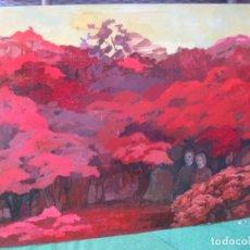 Arte: OLEO SOBRE TABLERO EN EL BOSQUE SIN FIRMA. Lote 220600911