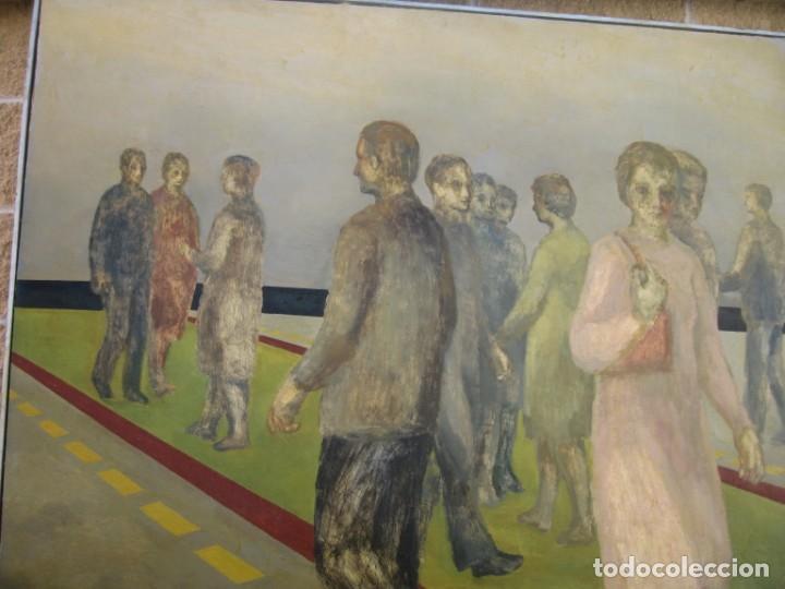 OLEO SOBRE LIENZO GENTE EN LA CALLE FIRMADO POR M. CALVET (Arte - Pintura - Pintura al Óleo Contemporánea )