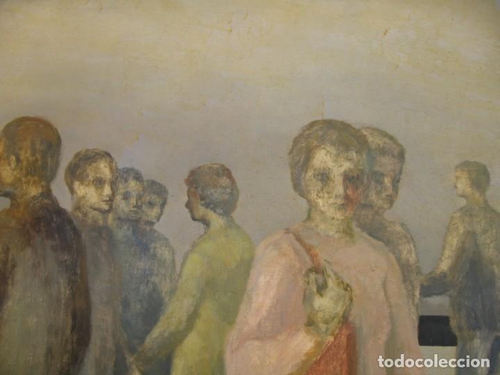 Arte: OLEO SOBRE LIENZO GENTE EN LA CALLE FIRMADO POR M. CALVET - Foto 3 - 220603378
