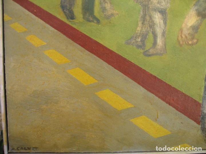 Arte: OLEO SOBRE LIENZO GENTE EN LA CALLE FIRMADO POR M. CALVET - Foto 4 - 220603378