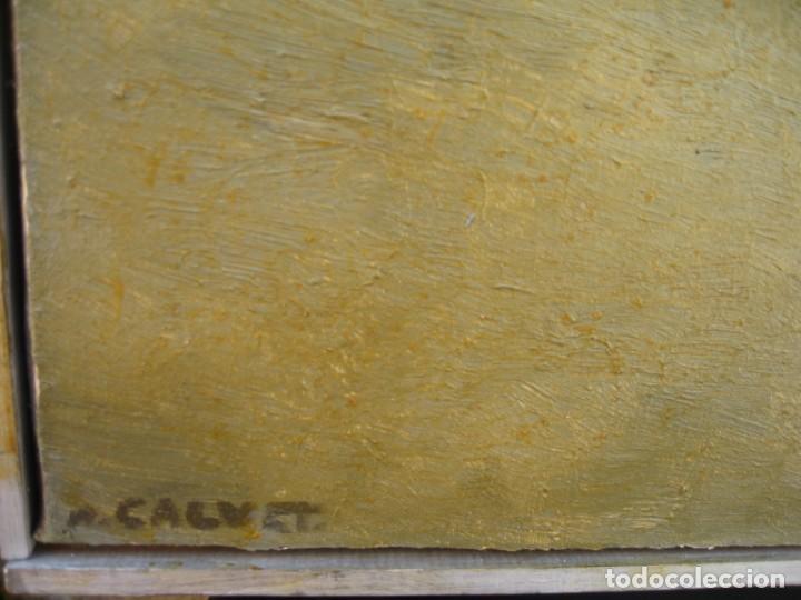 Arte: OLEO SOBRE LIENZO GENTE EN LA CALLE FIRMADO POR M. CALVET - Foto 6 - 220603378