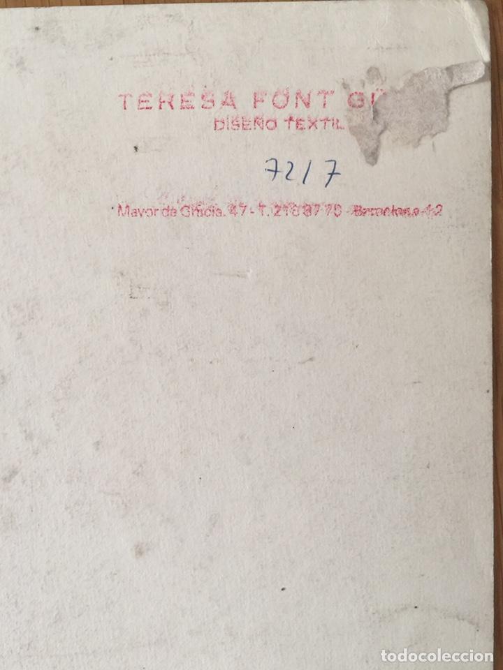 Arte: Teresa Font Güell, dibujo flores para diseño textil, gouache sobre papel, con sello. 33x26cm - Foto 2 - 220660453