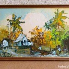 Arte: OLEO LIENZO JAMAICA KEN ABENDANA SPENCER 1929 2005 COLORIDO ESPATULA PALMERAS CHOZAS BARCAS 51X75CMS. Lote 220663315