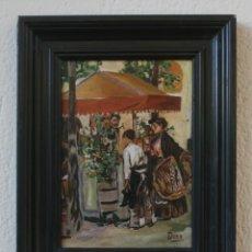 Arte: ANTIGUA PINTURA IMPRESIONISMO AL OLEO SOBRE MADERA FIRMADA – CON MARCO, ENMARCADA. Lote 220735631