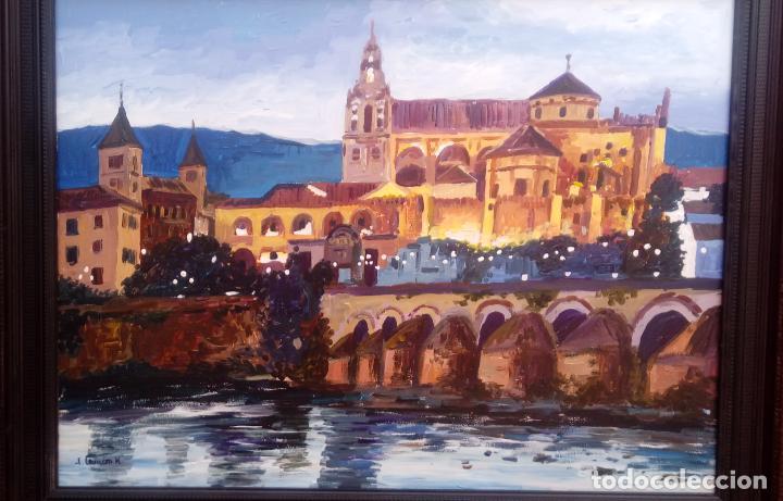 Arte: ÓLEO S/TABLA DE JOSÉ CAMERO HERNÁNDEZ,ENMARCADO. TÍTULO.- NOCTURNO MEZQUITA CÓRDOBA. 94X74 CMS - Foto 2 - 77541773