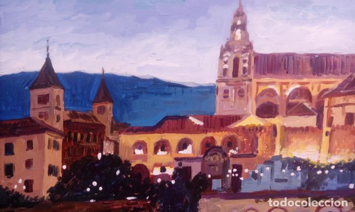 Arte: ÓLEO S/TABLA DE JOSÉ CAMERO HERNÁNDEZ,ENMARCADO. TÍTULO.- NOCTURNO MEZQUITA CÓRDOBA. 94X74 CMS - Foto 9 - 77541773