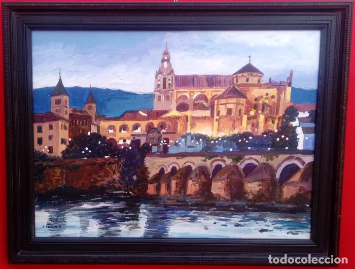 ÓLEO S/TABLA DE JOSÉ CAMERO HERNÁNDEZ,ENMARCADO. TÍTULO.- NOCTURNO MEZQUITA CÓRDOBA. 94X74 CMS (Arte - Pintura - Pintura al Óleo Contemporánea )