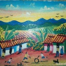 Arte: PEQUEÑO ANTIGUO ÓLEO SOBRE LIENZO COLORIDO NIÑOS JUGANDO POBLADO MONTAÑAS FIRMA ILEGIBLE BONITO. Lote 220798887