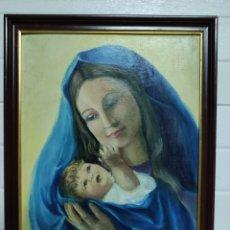 Arte: PRECIOSO CUADRO DE VIRGEN CON NIÑO JESÚS.. Lote 220837218