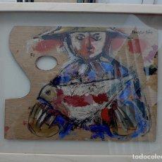 Arte: NOCHTAR APIM, PALETA OLEO SOBRE TABLA FIRMADA. Lote 220938273