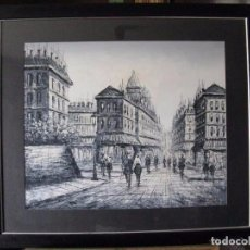 Arte: ESPECTACULAR OLEO SOBRE LIENZO -VISTA PARISINA- TÉCNICA BLANCO Y NEGRO. Lote 221089885