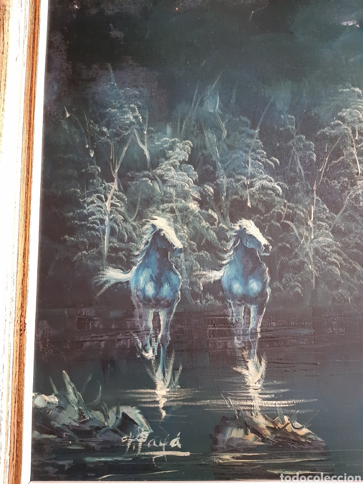 Arte: Impresionante Cuadro Paisaje Natural ecuestre Óleo sobre lienzo de Vicente Payá. Ver descripcion - Foto 9 - 221111298