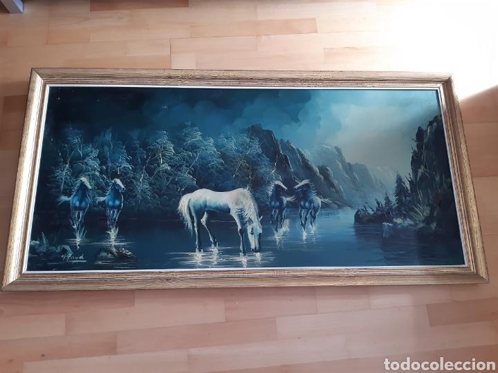 Arte: Impresionante Cuadro Paisaje Natural ecuestre Óleo sobre lienzo de Vicente Payá. Ver descripcion - Foto 2 - 221111298