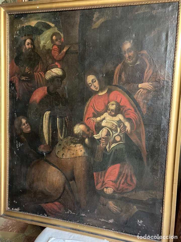 GRAN ADORACIÓN DE LOS REYES S. XVII (Arte - Pintura - Pintura al Óleo Antigua siglo XVII)
