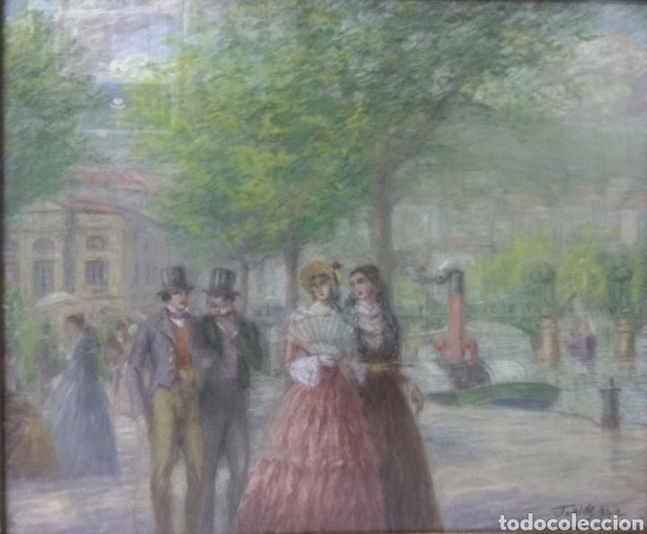 PINTURA JUAN DE ARECHALDE 1884-1959 FIRMADO JOALDE PASEO DEL ARENAL BILBAO PAIS VASCO GOUACHE VASCA (Arte - Pintura - Pintura al Óleo Contemporánea )