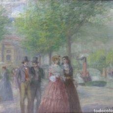 Arte: PINTURA JUAN DE ARECHALDE 1884-1959 FIRMADO JOALDE PASEO DEL ARENAL BILBAO PAIS VASCO GOUACHE VASCA. Lote 221236120