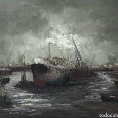 Arte: FABULOSO OLEO PINTURA MARINA JUAN ESCODA COROMINAS 1920-2012 PINTOR CATALAN RÍA CON GRÚAS 97X84 CM. Lote 221239836
