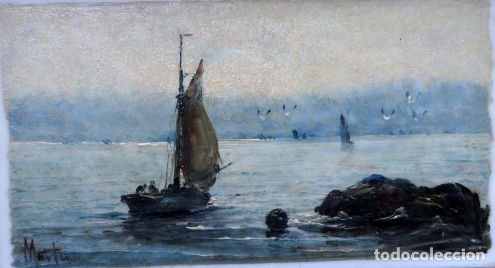 Arte: Marina óleo sobre azulejo de porcelana firmado Martín escuela española finales del siglo XIX - Foto 2 - 221245817