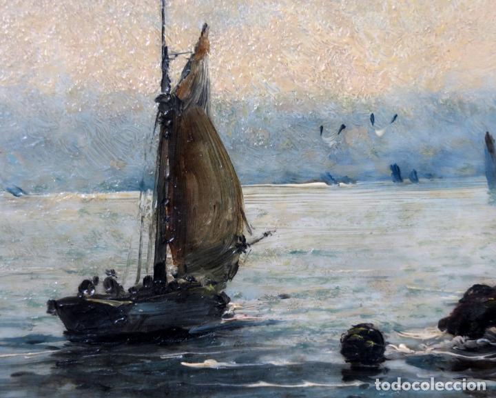Arte: Marina óleo sobre azulejo de porcelana firmado Martín escuela española finales del siglo XIX - Foto 3 - 221245817