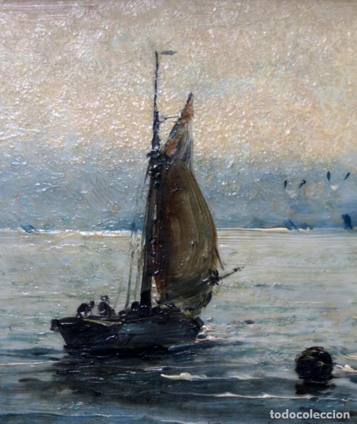 Arte: Marina óleo sobre azulejo de porcelana firmado Martín escuela española finales del siglo XIX - Foto 5 - 221245817
