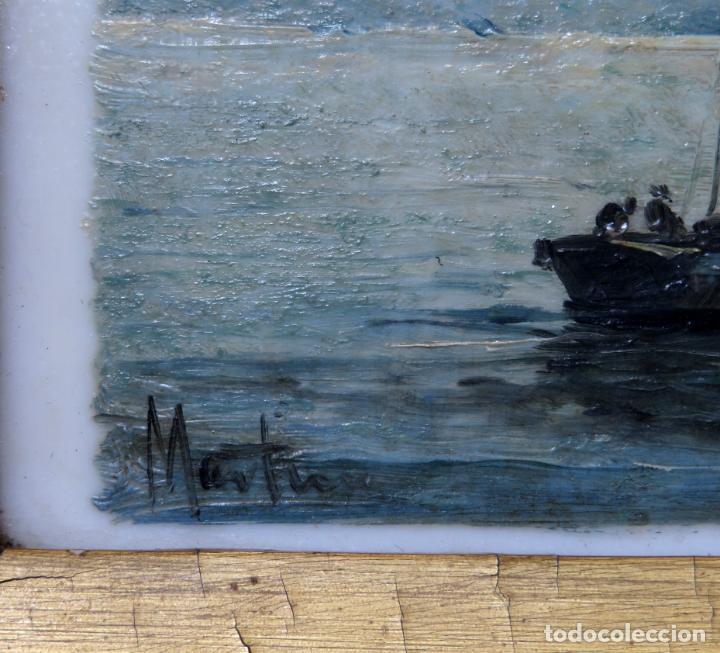 Arte: Marina óleo sobre azulejo de porcelana firmado Martín escuela española finales del siglo XIX - Foto 6 - 221245817