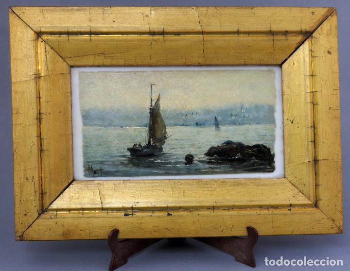 MARINA ÓLEO SOBRE AZULEJO DE PORCELANA FIRMADO MARTÍN ESCUELA ESPAÑOLA FINALES DEL SIGLO XIX (Arte - Pintura - Pintura al Óleo Moderna siglo XIX)