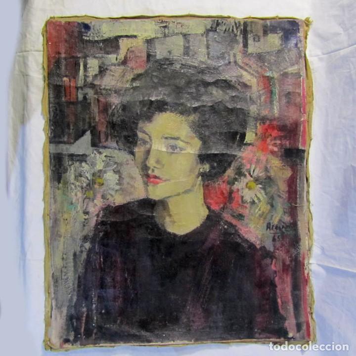 ÓLEO PINTADO SOBRE LIENZO RETRATO DE MUJER. FIRMA ACEVES 1965, 79 X 59 CM (Arte - Pintura - Pintura al Óleo Contemporánea )