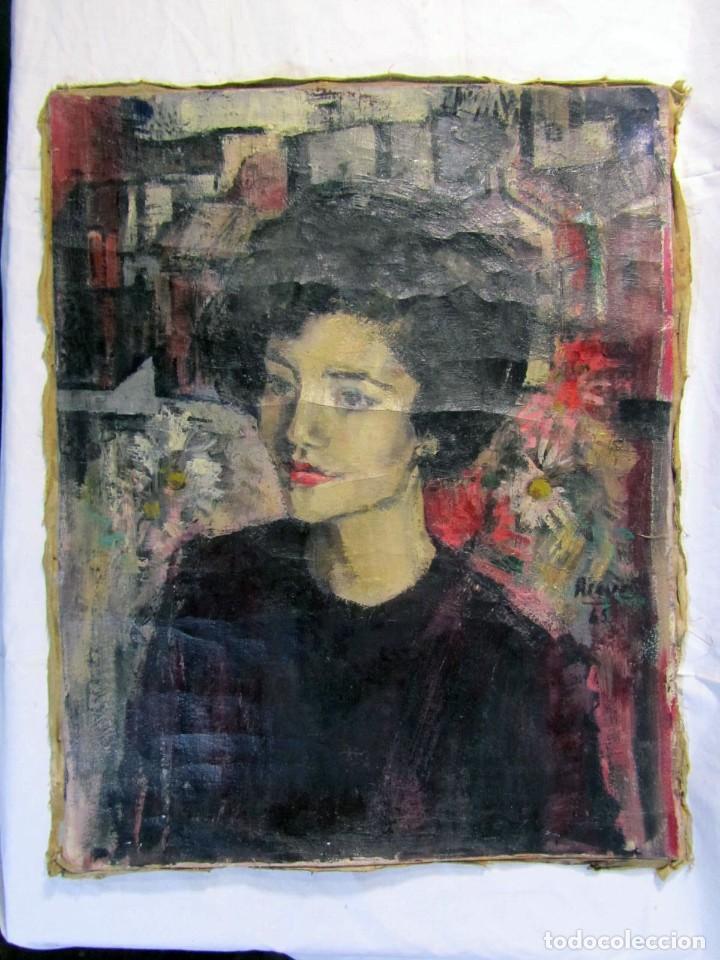 Arte: Óleo pintado sobre lienzo retrato de mujer. Firma Aceves 1965, 79 x 59 cm - Foto 2 - 221302057