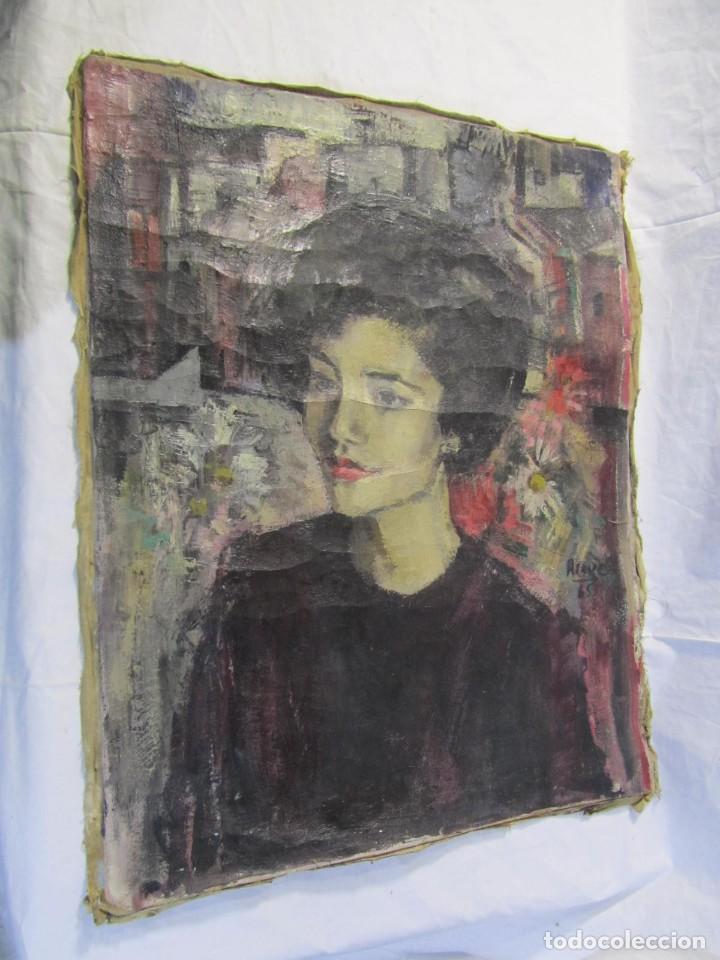 Arte: Óleo pintado sobre lienzo retrato de mujer. Firma Aceves 1965, 79 x 59 cm - Foto 3 - 221302057