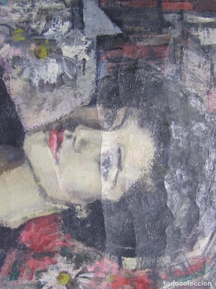 Arte: Óleo pintado sobre lienzo retrato de mujer. Firma Aceves 1965, 79 x 59 cm - Foto 4 - 221302057